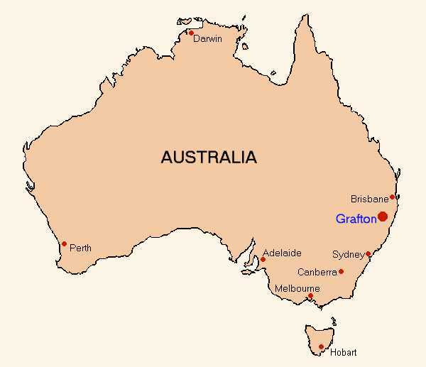Map of Australia showing the location of Grafton